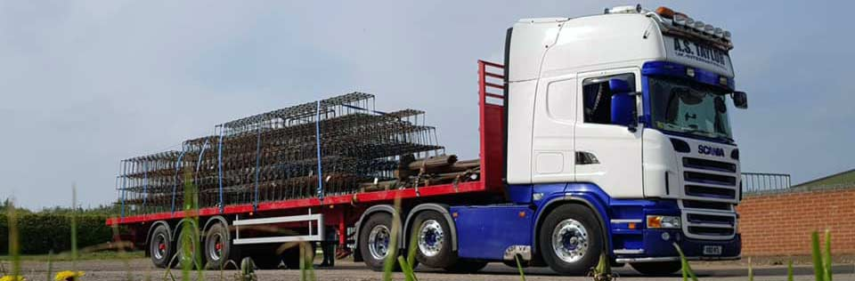 mesh loaded onto a lorry for delivery